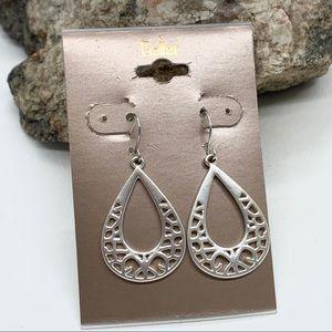 5/$25 Teardrop Earrings Open Filigree Silver Tone